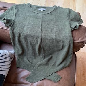 Madewell tie-front tee.  Forest green.